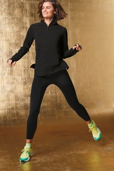 Black Zip Neck Running Top