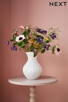 Pleated Ceramic Vase