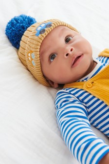 Ochre Transport Knitted Pom Hat (Younger)