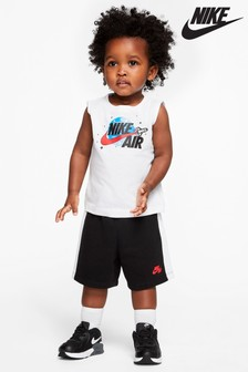 Nike Infant Blue Space Logo Vest And Short Set