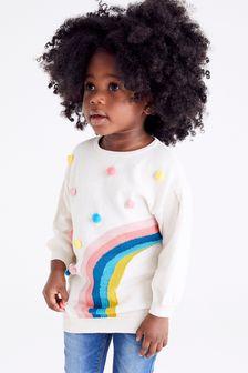 Cream Rainbow Pom Jumper Dress (12mths-7yrs)