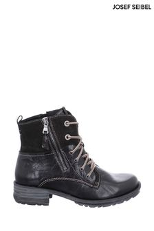 Josef Seibel Black Sandra Biker-Style Combat Boots