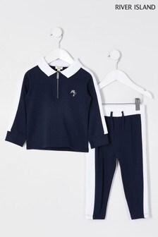 River Island Navy Maison Long Sleeve Polo Set