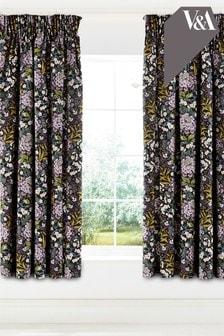 V&A Peony Trail Lined Eyelet Curtains
