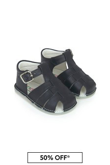 Andanines Baby Navy Leather Sandals