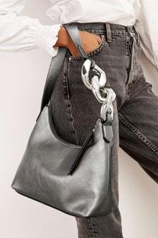 Silver Oversized Chain Detail Shoulder Bag