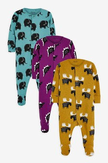 Teal 3 Pack Character Sleepsuits (0mths-2yrs)