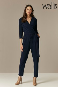 Wallis Blue 3/4 Sleeve Wrap Jumpsuit
