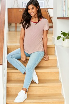 Bleach Wash Maternity Super Soft Skinny Jeans