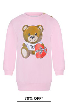 Baby Girls Pink Cotton Fleece Teddy Dress