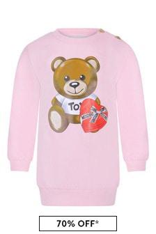 Pink Baby Girls Pink Cotton Fleece Teddy Dress