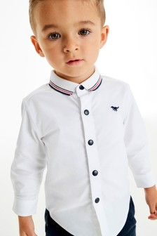 White Long Sleeve Oxford Shirt With Rib Collar (3mths-7yrs)