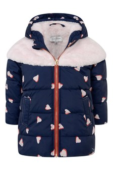 Baby Girls Navy/Pink Heart Padded Jacket