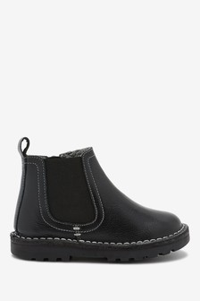 Black Standard Fit (F) Warm Lined Leather Chelsea Boots