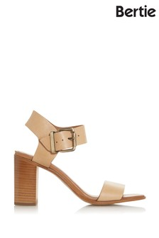 Bertie Iraya Camel Leather Square Toe Block Heel Sandals