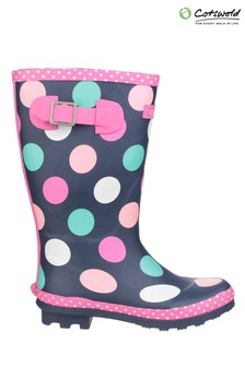 Cotswold Blue Dotty Junoir Pull-On Wellington Boots