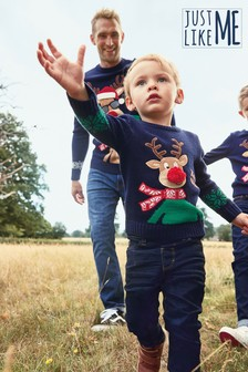 Navy Matching Family Kids Christmas Reindeer Jumper (3mths-16yrs)