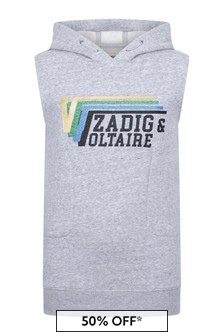Zadig & Voltaire Girls Grey Sleeveless Hooded Sweater Dress