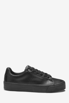 Black Signature Chunky Leather Lace-Up Trainers