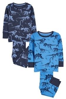 Blue 2 Pack Dinosaur Snuggle Pyjamas (9mths-12yrs)