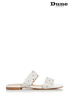 Dune London Lauretta White Leather Laser Cut Detail Flat Sliders