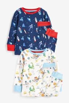 Navy/White 2 Pack Rocket Snuggle Pyjamas (9mths-8yrs)