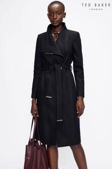 Ted Baker Rose Midi Wool Wrap Coat With Shoulder Panels