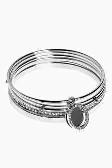 Silver Tone Sparkle Bangle Pack
