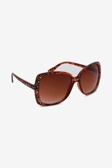 Tortoiseshell Effect Bling Detail Sunglasses