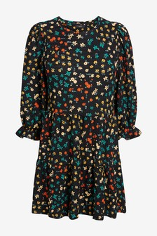 Black Floral Textured Short Sleeve Tiered Tunic
