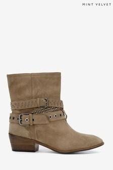 Mint Velvet Natural Elsa Biker Boots