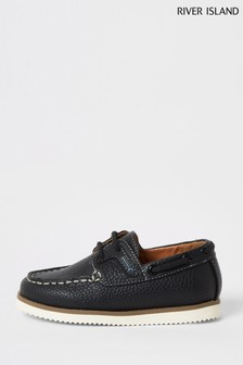 River Island Navy Rubber Patched Boat Shoes