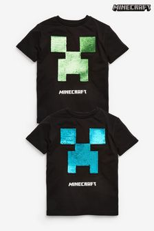Black Minecraft Sequin T-Shirt (4-14yrs)