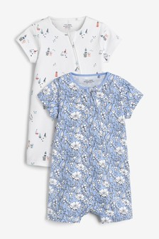 Nautical Boats 2 Pack Organic Cotton Zip Rompers (0mths-3yrs)