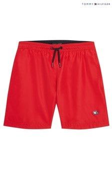 Tommy Hilfiger Red Tommy Solid Drawstring Swim Shorts