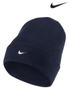 Nike Adults Navy Swoosh Beanie
