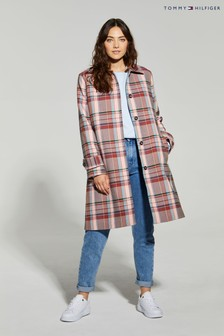 Tommy Hilfiger Pink Tess Check Mac Coat