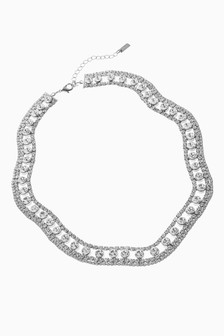 Silver Tone Crystal Statement Collar Necklace