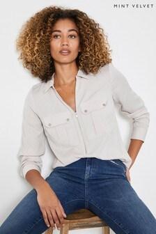 Mint Velvet Natural Utility Zip Front Shirt