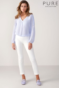 Pure Collection White Cotton Stretch Crop Trousers