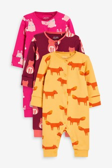 Pink 3 Pack Bunny/Cat Footless Sleepsuits (0mths-3yrs)