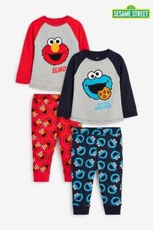 Multi 2 Pack Sesame Street Pyjamas (9mths-8yrs)