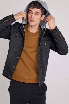 Denim Jacket With Removable Jersey Hood
