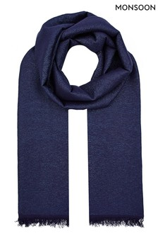 Monsoon Blue Viscose Occasion Scarf
