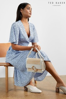 Ted Baker Blue Mabbel Dotty Peplum Tea Dress