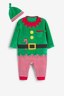 Green Christmas Elf Dress Up Velour Sleepsuit (0mths-3yrs)