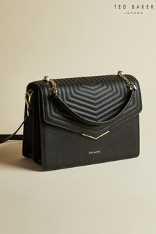 Ted Baker Black Brittni Leather Quilted Envelope Bag