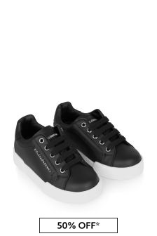 Black Kids Black Leather Lace-Up Trainers