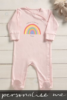 Personalised Chasing Rainbows Sleepsuit