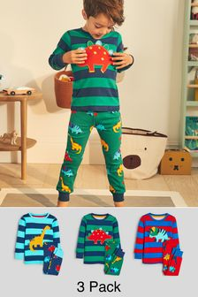Bright Stripe Dino 3 Pack Snuggle Pyjamas (9mths-8yrs)